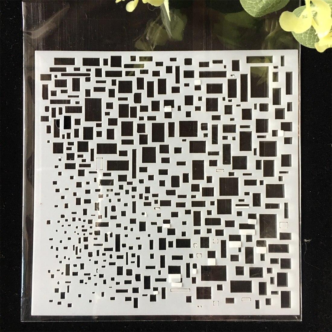 1Pcs Square Texture Block DIY Layering Stencils Wall Painting Scrapbook Coloring Embossing Album Decorative Card Template