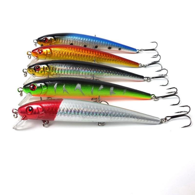 5pcs/lot 13cm 19g Minnow Fishing Crankbait lures Plastic Hard baits Mix 5 colors fishing tackle Dive deep 0.4m-0.8m lifelike earthworm style fishing baits 5 pcs
