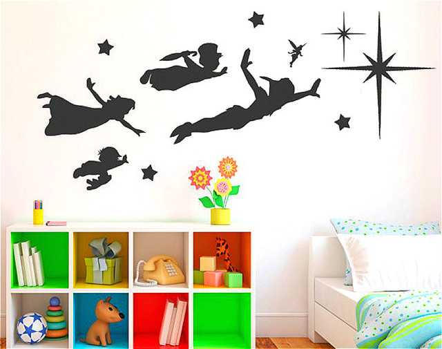 removable nursery cartoon peter pan vinyl wall decals sticker glue