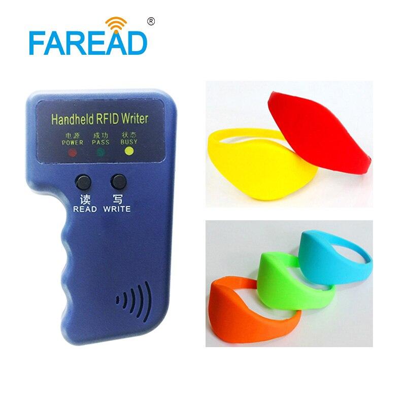 1pc Writer Copier + X100pcs Free Shipping 125khz TK4100 RFID Wristband For Supermarket, Amusement Park, Theme Park