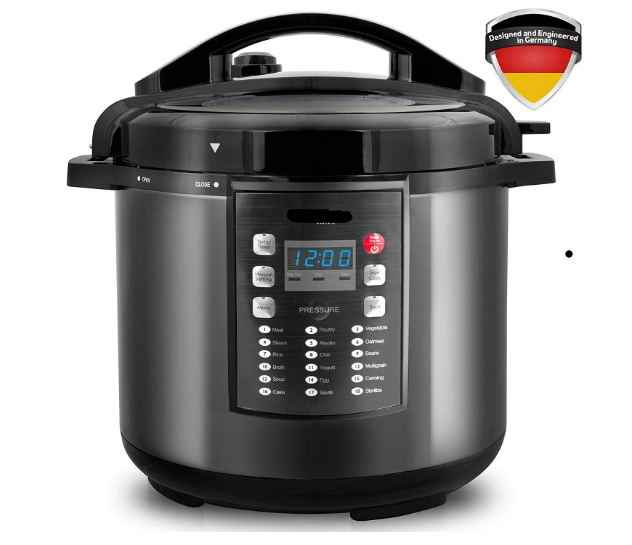 Pressure Cooker Instan Crock 10-In-1 Pot Pro Series 19 Program 6Q Bahasa Jerman Thermav Tech masak 2 Hidangan Sekaligus Bonus Temper