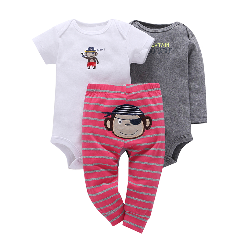 New Hot Sale Fashion Worsted Unisex Short 2018 Newborn, Baby Clothes Boys And Girls Cotton Long Sleeved With 3 Sets Of Newborn