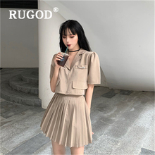 RUGOD Elegant solid summer women skirt suits Korean chic turn-down pockets tops & elasticity waist pleated skirts female 2019