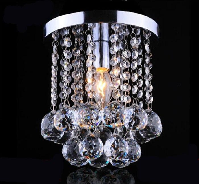 Z moderne cristal allée lumière créative porche lumières cristal plafond lustre luminaires Base ronde E14 LED ampoule incluse