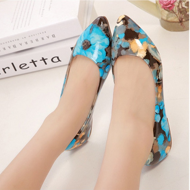 Lady's Patent leather Vintage Plus size 34-43 Appliques Printed Floral Pointy Toe Women's Loafer Match Shoes and Bag Italy