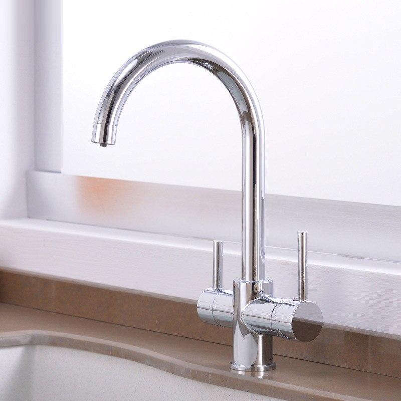 Cuisine nourriture bol d'eau froide et chaude purificateur robinet transfrontalier pour tous les robinets de cuisine en cuivre robinet pont monté