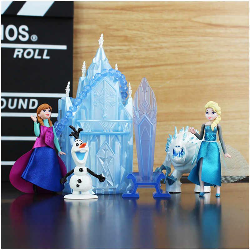 154fe19558131 Disney Frozen 6Pcs/Set 6-16cm Princess Anna Elsa Action Figures Kristoff  Sven Olaf PVC Model Dolls Collection Birthday Gift Toys
