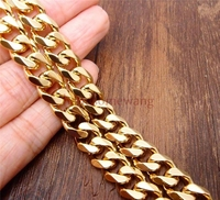 8 40inch Mens 15mm 24k Gold Plated Stainless Steel 316L Curb Chain Bracelet Or Necklace Jewelry