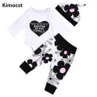 2018 New Autumn Winter Cute Newborn Baby Girls Clothes Cotton Tops Long Sleeve Romper Floral Leggings
