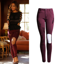 2017 Women Skinny Jeans Famale Vintage Solid Ripped Hole Pencil Jeans Casual Ladies High Waist Denim Pants Trousers WJNAM043