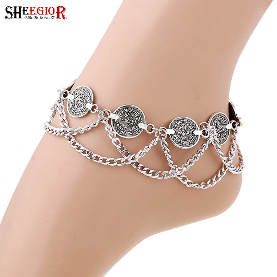Vintage Silver color Anklets for Women Accessories Coin Charm Tassel Toe Ankle Bracelet Beach Chaine Cheville Femme Foot Jewelry