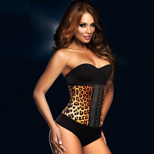 A2223 leopardo animal de la impresión de látex cintura femenina body shaper excelente calidad moda para adelgazar cintura corsés chaleco altamente recommand