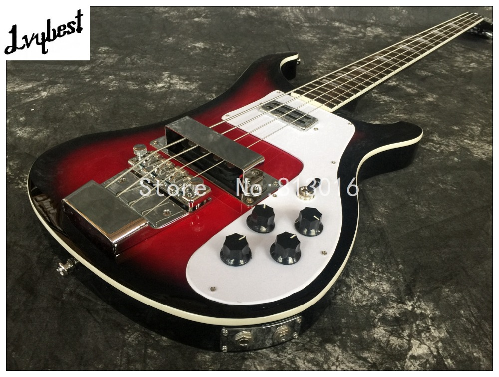 best electric guitar lvybest black burst red center rick bass guitar rosewood fingerboard. Black Bedroom Furniture Sets. Home Design Ideas