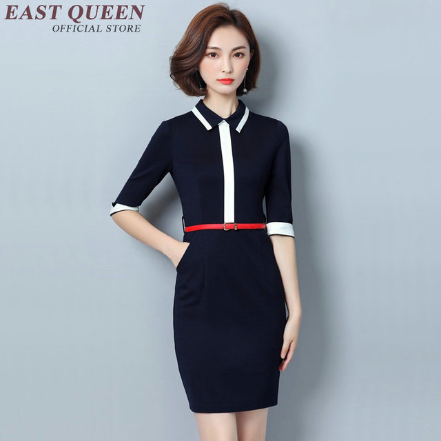 Business Dress Clothes Women Casual Office For 2018 White Collar Midi With Belt Dd074 C