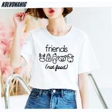 KOLVONANIG 2019 Summer New Animals Friends Not Food Funny Printed T Shirt For Women Cotton Girl Friend Tshirts Graphic Tees Tops