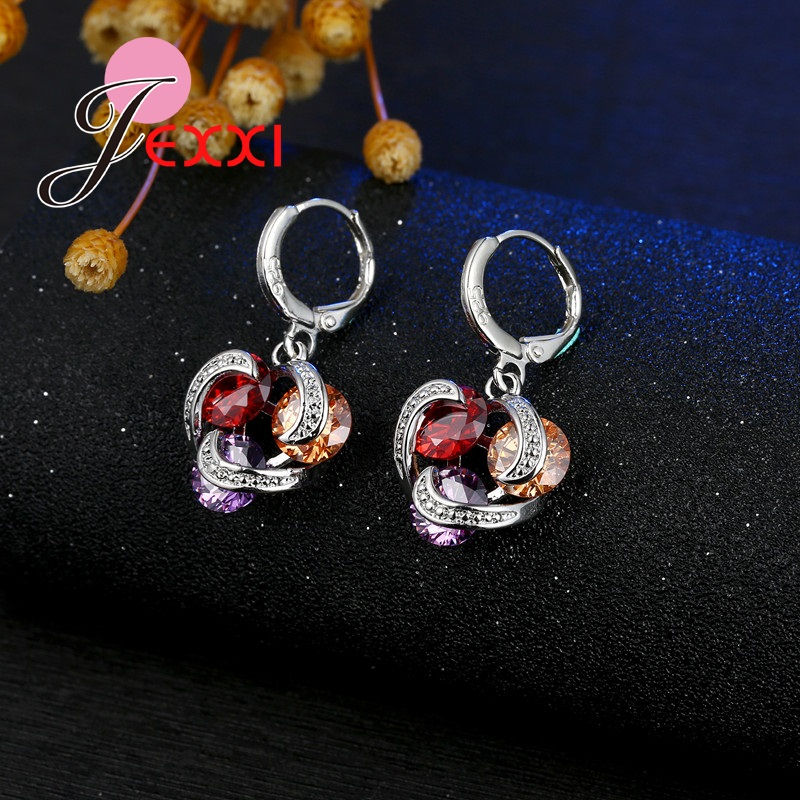 925 Sterling Silver Jewelry Set Cubic Zirconia Crystal Pendant Necklace Earrings For Bridal Wedding Charm Gift party Wear
