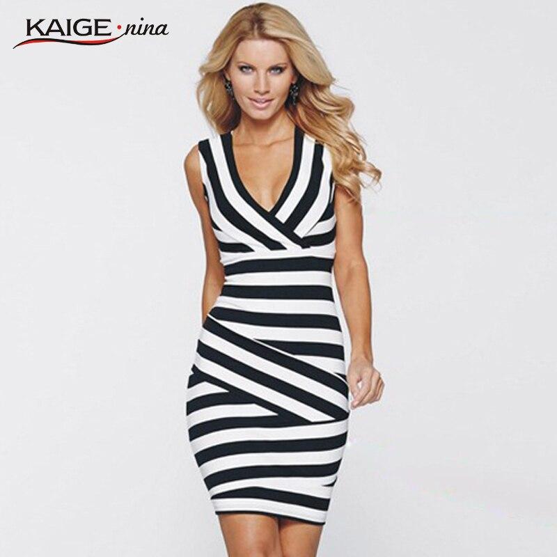 KaigeNina New Summer dress Women s elegant new summer striped tunic wear to work well cocktail