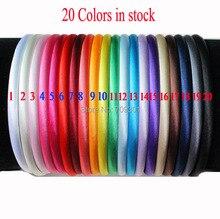 60 teile/los, 10mm solide Mädchen Satin Stirnband plain blumen Stirnbänder mädchen KidsHair zubehör, 20 farben