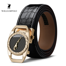 Williampolo Famous Brand Belt Men Top Quality Genuine Luxury Leather Belts for Strap Male Metal Automatic Buckle PL18400P