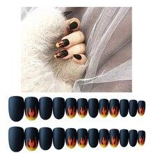 24pcs/Set Punk Fire Fake Nails Matte False Dark Black Pre-design Short Round Head Full Cover Nail Tips Decoration