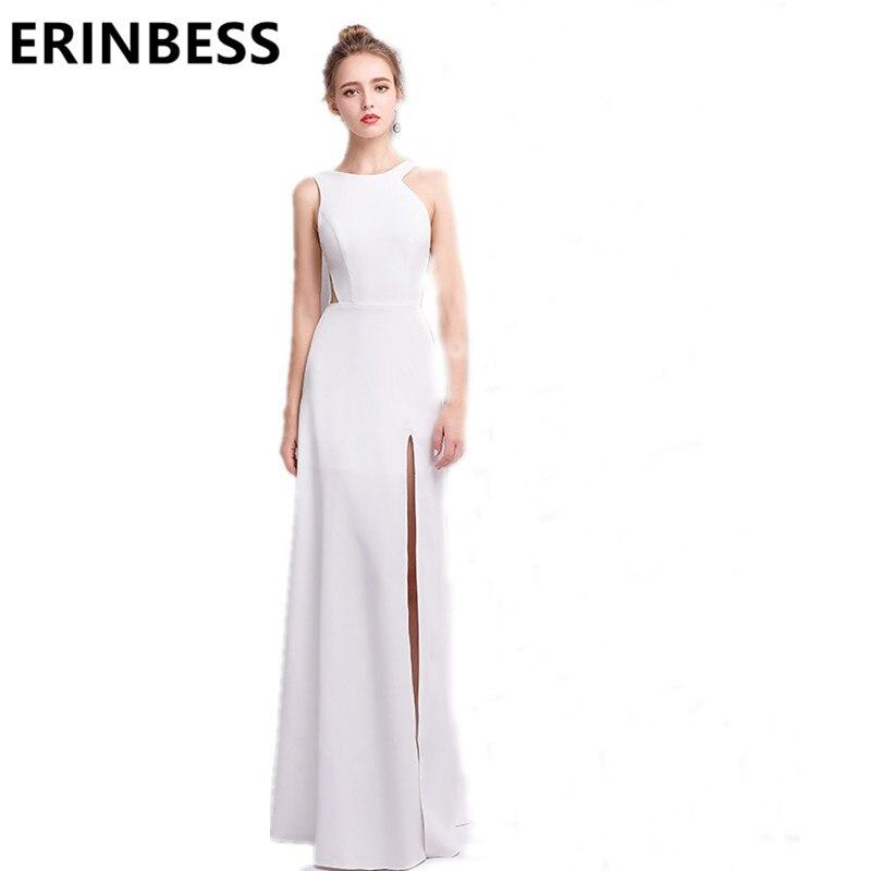 2019 Robe De soirée sirène blanche robes De soirée encolure dégagée sans manches Long étage longueur haute fente robes De soirée