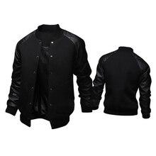 New Trend Black College Baseball Jacket Men/Boy Veste Homme Casual Pu Leather Sl