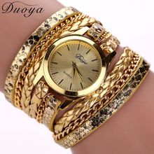 Duoya Brand Quartz Watches Women Luxury Gold Geneva Ladies Dress Bracelet Wristwatch Braid Leopard Leather Luxury Watches