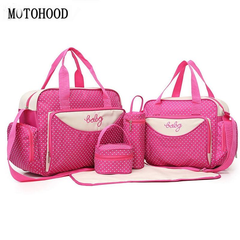 40*30.5*16cm 5PCS Big Baby Diaper Bags Sets For Mom Dot Nappy Net Stroller Bag Organizer Designer Multifunctional Women Tote Bag