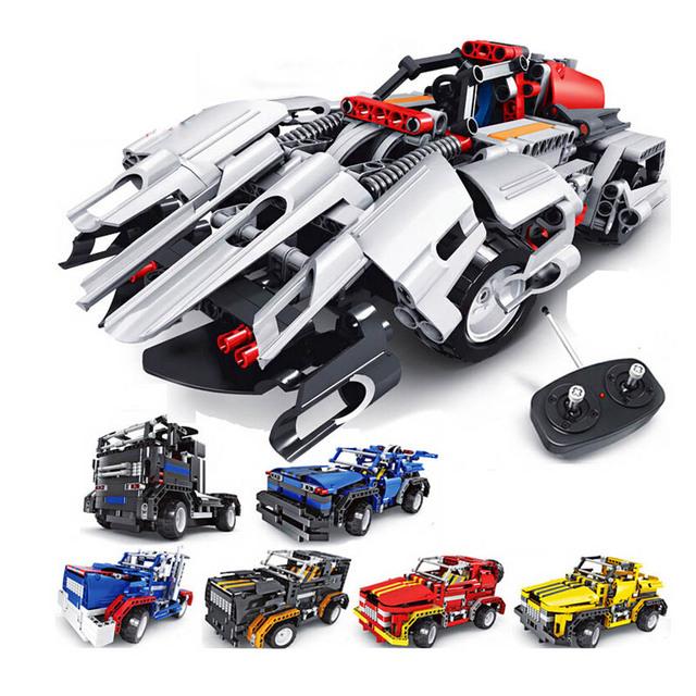 2 em i DIY Educacional Contronl Remoto RC Montagem Bloco de Construção de Brinquedos Modelo Do Veículo Do Carro para crianças Dia das Crianças presente
