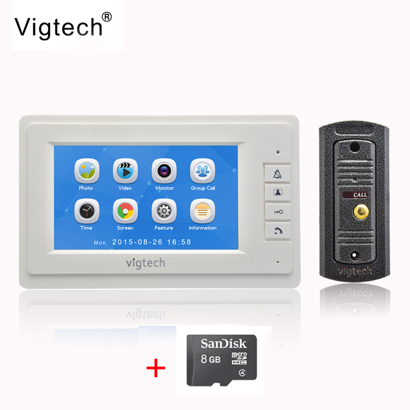 Vigtech 7`` LCD Color Screen video door phone Record intercom system Metal shell HD MiNi Camera 8GB TF Card FREE SHIPPING free shipping k5 metal shell