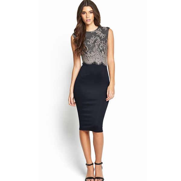 Elegant Peplum Dress Knee Length Free Shipping Women Work Wear Slim Lace  Pencil Office Dress 9dad2eb838b3