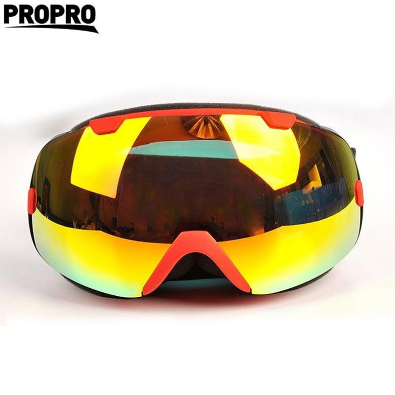 Prix pour PROPRO marque professionnel ski lunettes 2 double lentille anti-brouillard UV400 grand sphérique ski lunettes hommes femmes lunettes de neige ensemble