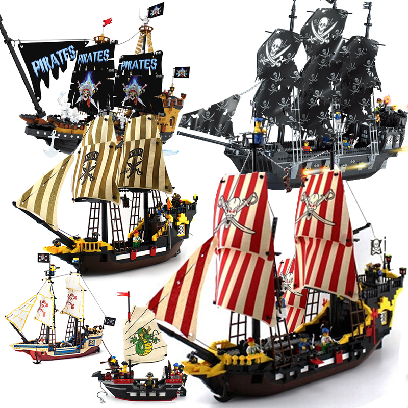 Upgraded RS The Black Pearl Ship Model Sets Pirates Castle Figures Caribbean Building Bl ...