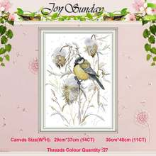 Bird in late autumn counted 11CT 14CT Cross Stitch Set wholesale DIY DMC Cross-stitch Kit Embroidery Needlework Home Decor(China)