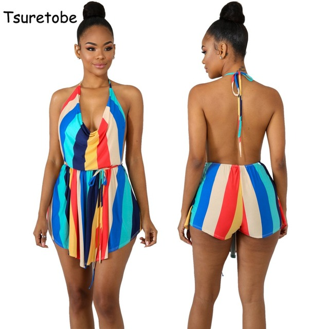 fae03843abd7 Tsuretobe Summer Loose Printed Casual Jumpsuit Women Spaghetti Strap  Backless Sexy Playsuit Striped Beach Elegant Jumpsuit Slim