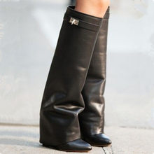 9e34a623aa32 Scelebrated pant-leg Boots For Womens Shark Lock Wedge Boots High Heels  Knee Boots Genuine