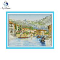 Joy Sunday Scenic Style A Lake Side Town Scenery Counted And Stamped 11CT 14CT Cross Stitch