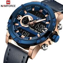 NAVIFORCE hommes Sport montres mâle haut de gamme marque Quartz numérique horloge homme étanche en cuir armée montre bracelet Relogio Masculino