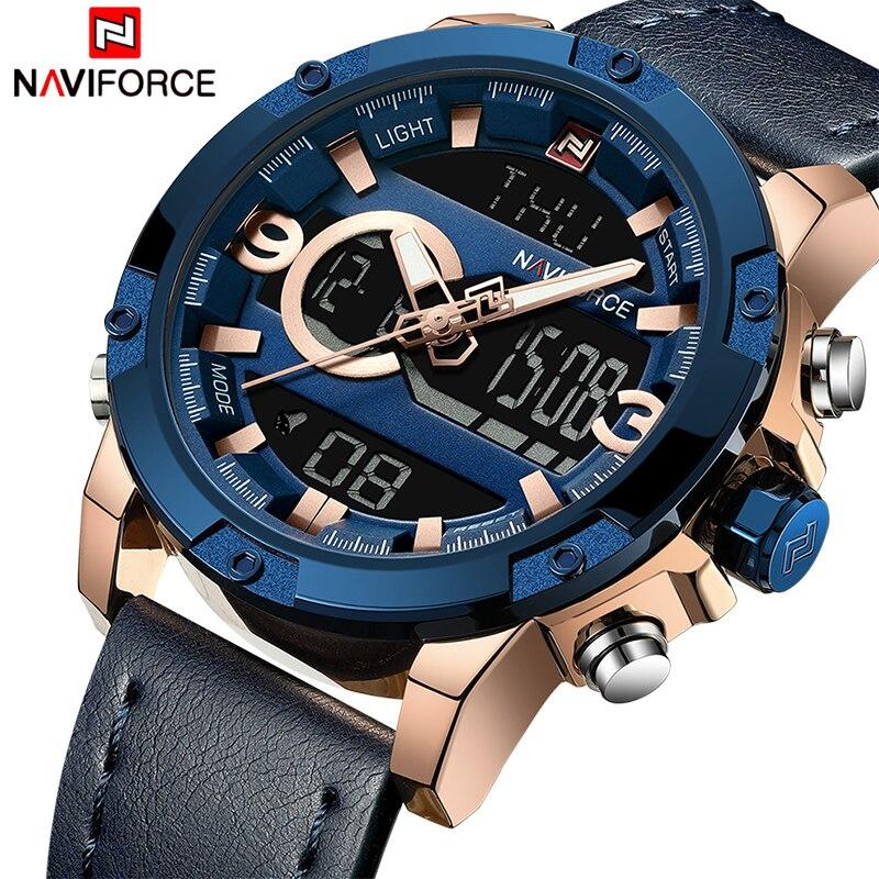 Naviforce homens esporte relógios masculino topo marca de luxo quartzo relógio digital homem à prova dwaterproof água couro do exército relógio pulso relogio masculino