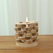 Modern Style Round Wooden Candle Holder with Glass Cup Handmade Wood Craft Candle Stand Home/Bar Decor Figurines Holiday Gift(China)