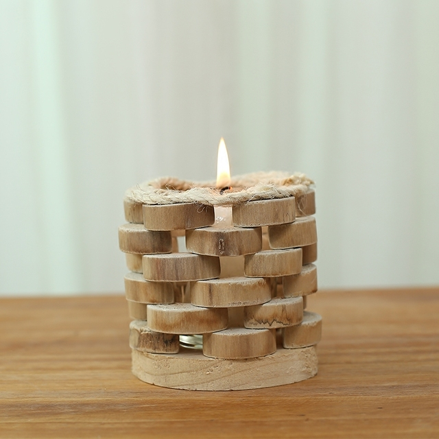 Modern Style Round Wooden Candle Holder With Gl Cup Handmade Wood Craft Stand Home