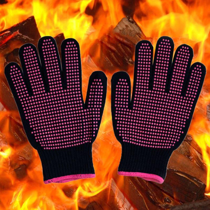 Newest 300 Centigrade Heat Resistant BBQ Gloves Cotton Silicone Non-Slip Hair Styling Work Gloves