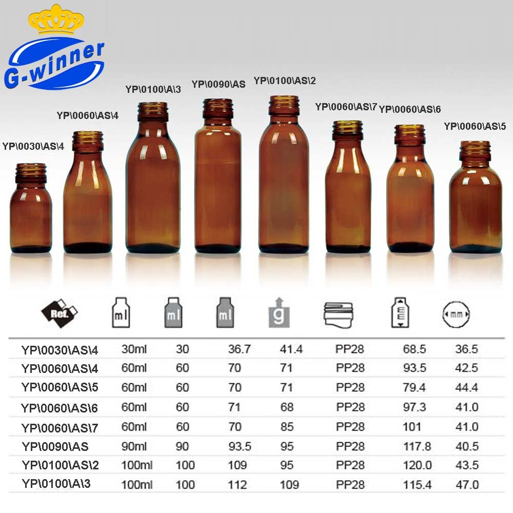 30ml 50ml 60ml 75ml 90ml 100ml 150ml Amber Glass Bottles
