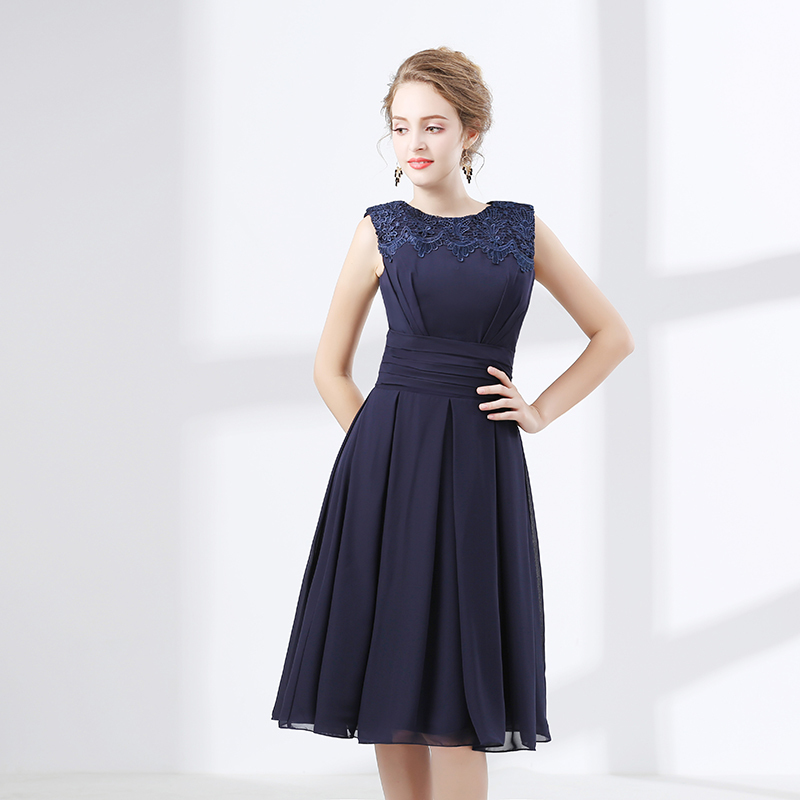 2018 Navy Blue Chiffon Short Bridesmaid Dress Sleeveless Country Style  Rustic Informal Beach Wedding Party Dresses Maid of Honor-in Bridesmaid  Dresses from ... a5a5d3c95ee0