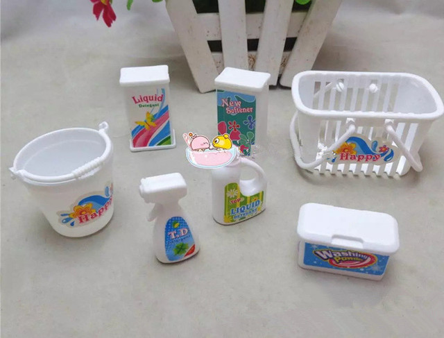 7pcslot Mini Doll Accessories For Barbie Doll House Plastic Washing