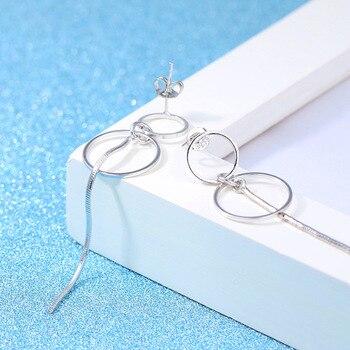 Fashion Silver 925 Drop Ear Line 2019 Jewelry Two Round Korean Statement Metal Silver Long Tassel Earrings For Women 4