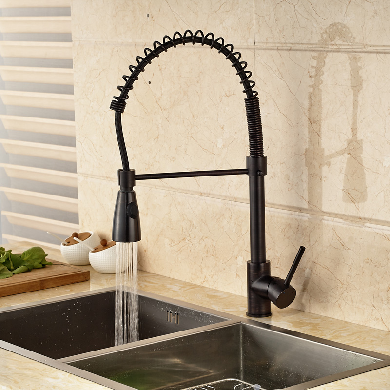 Bronze Black Kitchen Faucet Deck Mounted Mixer Tap 360 Degree ...