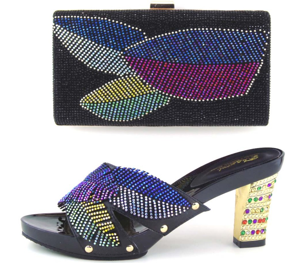 Matching shoes and bags italy nigeria black high quality african shoe and bag set for party in women!!MOH1-7 mf012 african shoes and bag set for nigeria lady black color italian style fashion italy shoe and bag to matching party