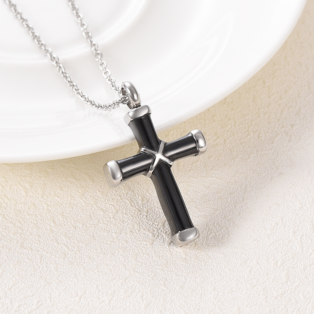 LKJ003 Top Quality Black Cross Cremation Necklace Hold Loved Ones' Ashes Funeral Urn Casket - Custom Name/ Date Engravable 1