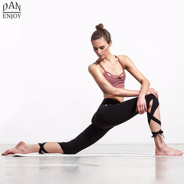 2016 Women Yoga Pants Sport Leggings Fitness Cross Yoga High Waist Ballet Dance Tight Bandage Yoga Cropped Pants Sportswear